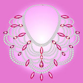 feminine vintage necklace with pink gems — Stock Vector