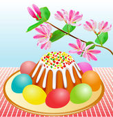 Passover with Easter cakes and eggs and cherry branch — Stock Vector