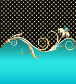 Background with gold flower and precious stones — Stockvector