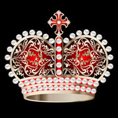 crown with pearls and ornament on a black — Stockvector
