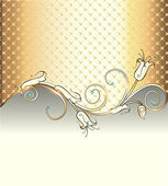 Illustration gold background with  flowe — Stock Vector