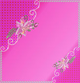 Background frame with flowers of jewels — Stock Vector