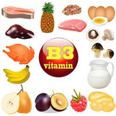 of three vitamin B. The origin of the plant foods in — Stock Vector