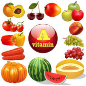 vitamin a  herbal products The origin of the — Stock Vector