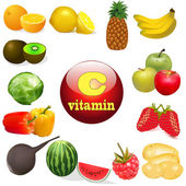 Vitamin C in foods of plant The origin of the — Stock Vector