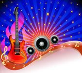 Tło z wierszy wśród gwiazd i gitara — Wektor stockowy
