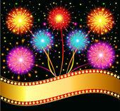 bright salute firework on black background — Stock Vector