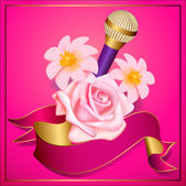 Party flyer or poster template with microphone and flowers — Vecteur