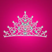 Of a woman with tiara crown jewels on pink — Stok Vektör