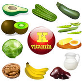 vitamin K plant and animal products — Stock Vector