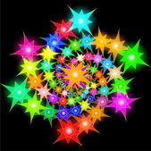Fondo cósmico de brillantes estrellas dispuestas en espiral — Vector de stock