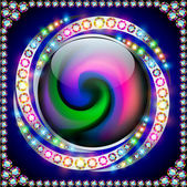 Background rainbow circle with precious stones on a spiral — Vector de stock