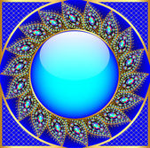 Background  round frame with the ornament of precious stones — Vettoriale Stock