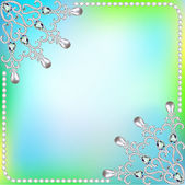 Background  frame with ornaments made of precious stones and pea — Stock Vector