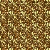 Seamless golden pattern on brown background — Stok Vektör