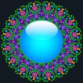 Glas rund och blommiga mönster av ädla stenar — Stockvektor