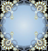 frame with ornaments made of precious stones and pearls — Stock Vector