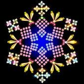 shiny snowflake background of precious stones — Stock Vector