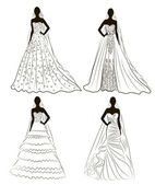 kit silhouette of the brides in wedding charge — Vector de stock