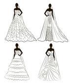 Kit silhouet van de bruiden in bruiloft kosten — Stockvector