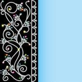 Achtergrond met een patroon van edelstenen en bloemen — Stockvector