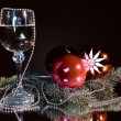 Goblet of champagne and christmas still life. — Stock Photo #6289115
