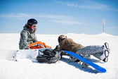 Freeride snowboarders — Stockfoto