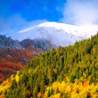 Mountain Landscapes. Meeting of the autumn and winter — Stock Photo