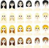 Icons set of women's hairstyles — Stock Vector