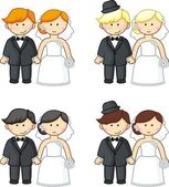 Cartoon brides and grooms. Vector illustration — Stock Vector