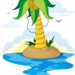 Palm tree on an island in the ocean — Stock Vector