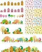 Seamless pattern houses with trees — Stock Vector