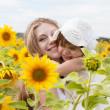 Happy mother with the daughter in the field with sunflowers - Stock Photo