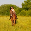 Beautiful girl riding a horse in countryside. — Stock Photo