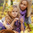 Royalty-Free Stock Photo: Happy mum and the daughter play autumn park on the fallen down foliage