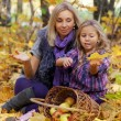 Happy mum and the daughter play autumn park on the fallen down foliage - 