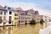 Channel in center of Ghent, Belgium (pencil sketch) — Stock Photo