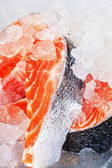 Two stakes from a salmon with ice close up — Stock Photo