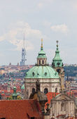 View of the historical districts of Prague from an observation deck — Stock Photo