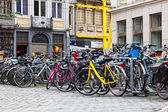 Parking of bicycles on one of streets of Ghent — Stock Photo