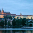 Night view of Prague - river Vltava, Gradchany, St. Vitus's cathedral — ストックビデオ