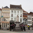MECHELEN, BELGIUM - JUNE 7: A panoramic view to Grote Markt square , on June 07, 2012 in Mechelen, Belgium.The major historical value is the monument to Margarita Av - Stock Photo