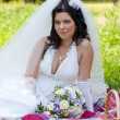 Beautiful bride sits on a grass with a big basket with fruit — Stock Photo