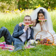 Groom with bride sit on a grass and eat a juicy water-melon - Stock Photo