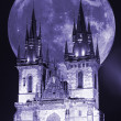 Stock Photo: Prague, Virgin Mary church before Tyn in full moon