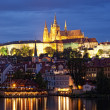 Night view of Prague - river Vltava, Gradchany, St. Vitus cathedral - Stock Photo