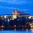 Night view of Prague - river Vltava, Gradchany, St. Vitus cathedral — Stock Photo