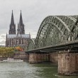 Cologne Cathedral and river Rhein - 图库照片