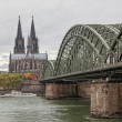 Cologne Cathedral and river Rhein - Stock Photo