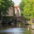 Classic view of channels of Bruges. Belgium. Medieval fairytale city. Summer urban landscape — Stock Photo